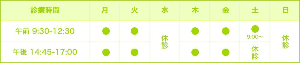 東高円寺眼科の診療時間表